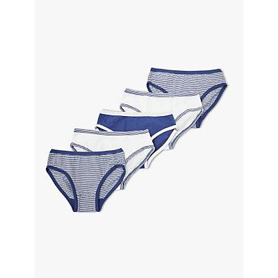 John Lewis & Partners Boys' Organic Cotton Briefs, Pack of 5, Blue