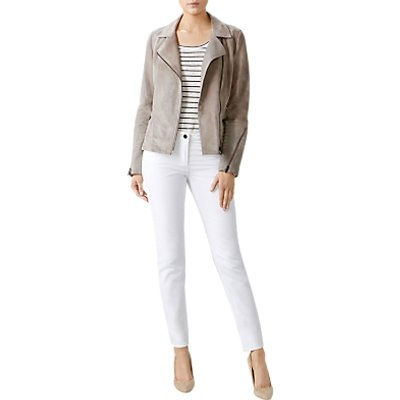 Pure Collection Suede Biker Jacket, Soft Taupe