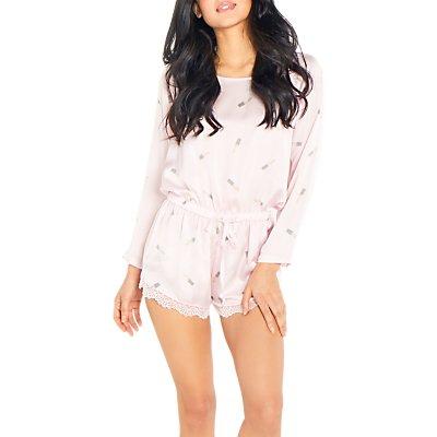 Chelsea Peers Lipstick Print Pyjama Playsuit, Pink