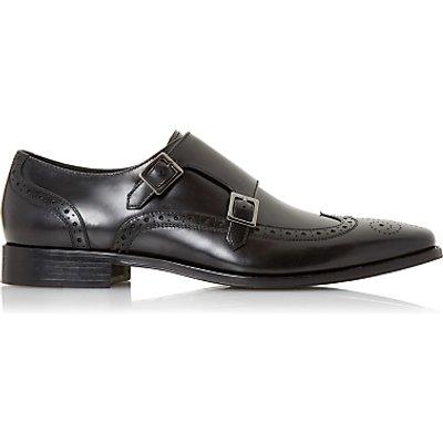 Dune Patch Double Buckle Monk Shoes  Black - 5057137982582