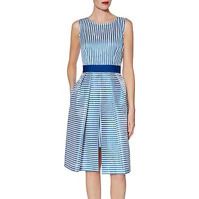 Gina Bacconi Elena Stripe Dress, Blue