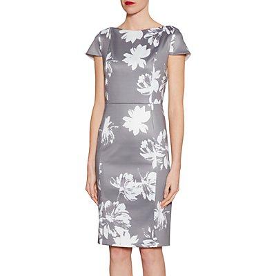 Gina Bacconi Betsy Brushed Flower Dress, Grey/Multi
