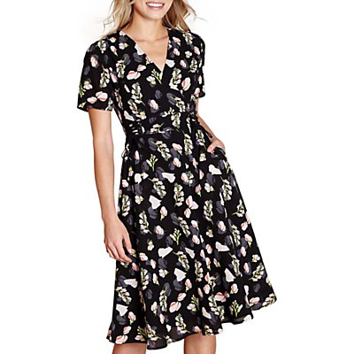 Yumi Flower Print Lace Tie Dress, Black