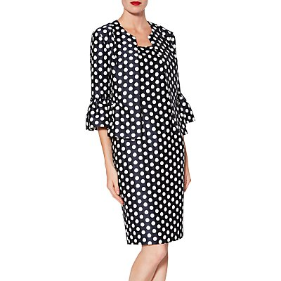 Gina Bacconi Geraldine Spot Dress and Jacket, Navy/White