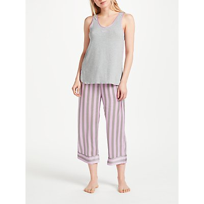 DKNY Walk the Line Tank Top And Crop Trousers Pyjama Set  Pink  Grey - 716273241575
