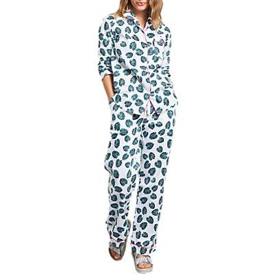 hush Monstera Leaf Piped Cotton Pyjama Set, White/Green