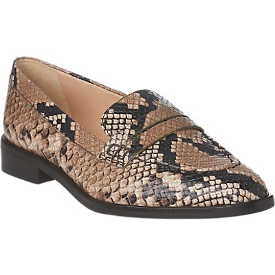 L K  Bennett Iona Pointed Toe Snake Print Loafers  Multi - 5054760326653