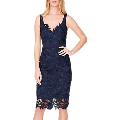Damsel in a Dress Abella Boned Lace Midi Dress, Navy/Blue