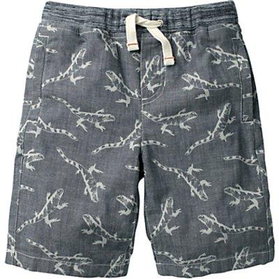 Mini Boden Boys' Chambray Lizard Print Shorts, Blue