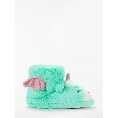John Lewis & Partners Children's Unicorn Booties Slippers, Turquoise