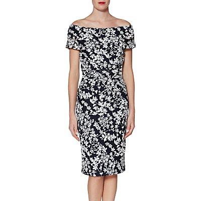 Gina Bacconi Genevive Floral Bardot Dress, Navy/White