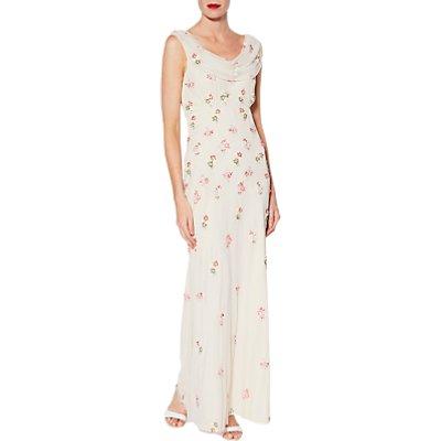 Gina Bacconi Sophia Beaded Maxi Dress, Oyster