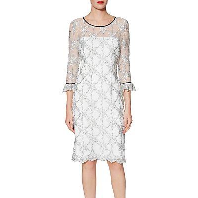 Gina Bacconi Misty Embroidery Dress, White/Black