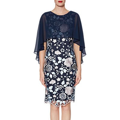 Gina Bacconi Jacquelin Dress And Chiffon Cape, Blue/Pink