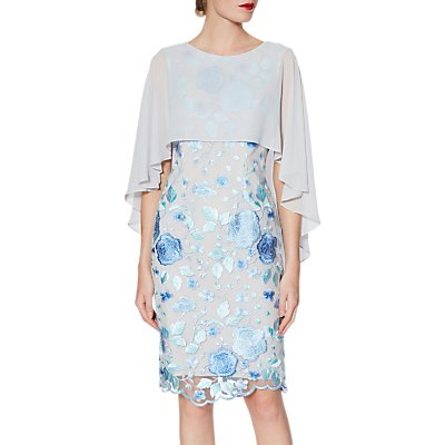Gina Bacconi Jacquelin Dress And Chiffon Cape, Lilac/Silver