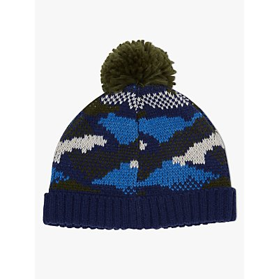 John Lewis & Partners Children's Camouflage Beanie Hat, Blue/Green