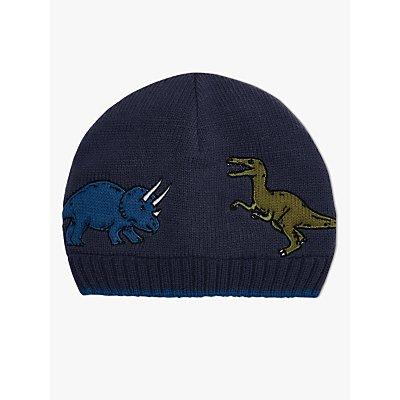 John Lewis & Partners Children's Dinosaur Beanie Hat, Navy