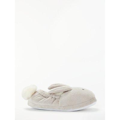John Lewis & Partners Children's Pom Pom Bunny Slippers, Beige
