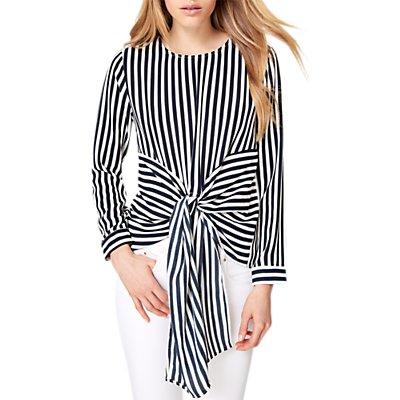Damsel in a Dress Greta Stripe Tie Waist Blouse, Navy/Ivory