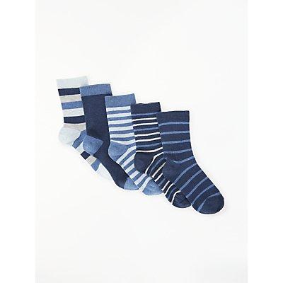 John Lewis & Partners Boys' Stripe Socks, Pack of 5, Blue