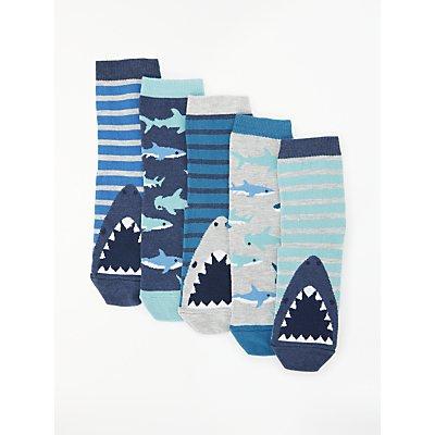 John Lewis & Partners Boys' Shark Socks, Pack of 5, Blue