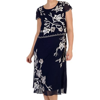 Chesca Embroidered Lily Layer Dress, Navy