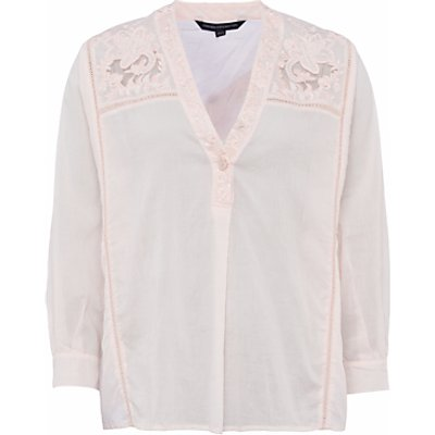 French Connection Avea Fleur Embroidered Detail Shirt, Barley Pink