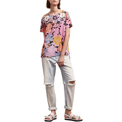 French Connection Shikoku Printed Crepe Tunic Top, Violet Vice