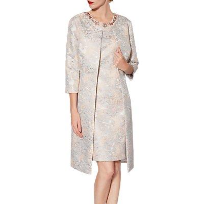 Gina Bacconi Kathy Floral Jacquard Coat, Rose Gold