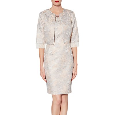 Gina Bacconi Kitty Floral Jacquard Coat, Rose Gold