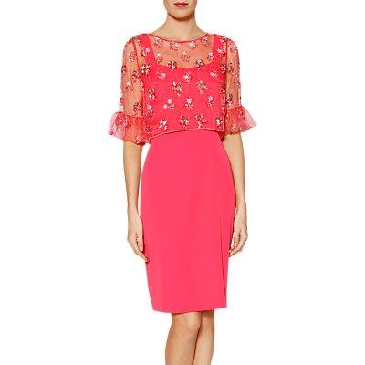 Gina Bacconi Demelza Dress And Cape, Flamingo Pink