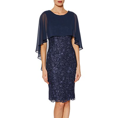 Gina Bacconi Michelle Embroidered Mesh Dress And Cape, Navy