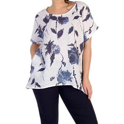 Chesca Floral Print Linen Top, White/Navy