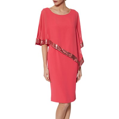Gina Bacconi Victoria Sequin Trim Cape Dress