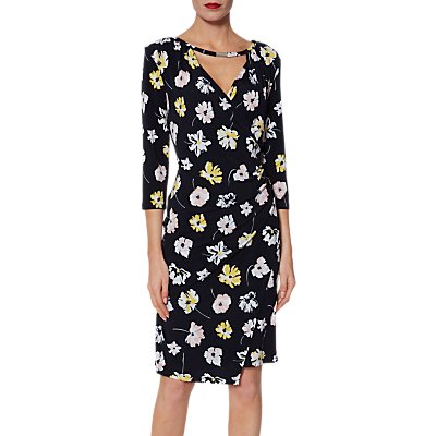 Gina Bacconi Keri Floral Jersey Dress, Navy/Multi