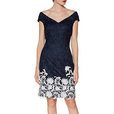 Gina Bacconi Anthea Lace Dress, Navy/White
