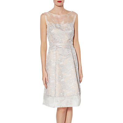 Gina Bacconi Katrina Floral Jacquard Dress, Rose Gold