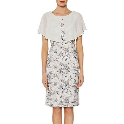 Gina Bacconi Pollyanna Embroidered Dress And Cape, Navy/Cream