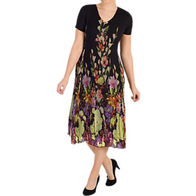 Chesca Floral Border Dress, Black/Multi