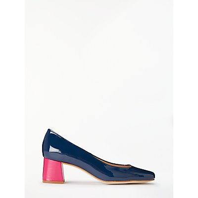 John Lewis & Partners Amanda Contrast Heel Court Shoes, Navy/Pink Leather