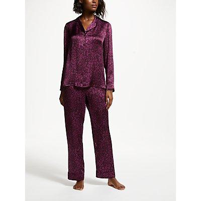 John Lewis   Partners Della Animal Silk Pyjama Set  Purple - 5057618127792