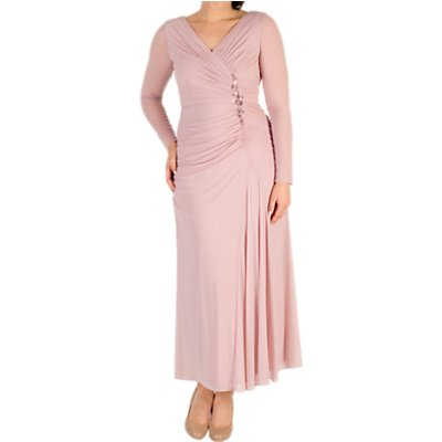 Chesca Ruched Bead Trim Dress, Powder Pink