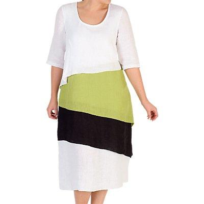 Chesca Linen Layered Dress, White/Multi