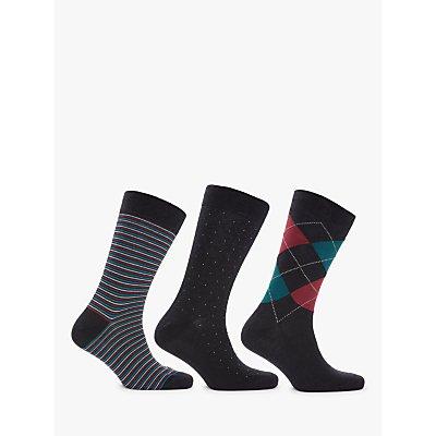 John Lewis   Partners Made in Italy Egyptian Cotton Argyle Stripe Dot Socks  Pack of 3 - 5057618044556