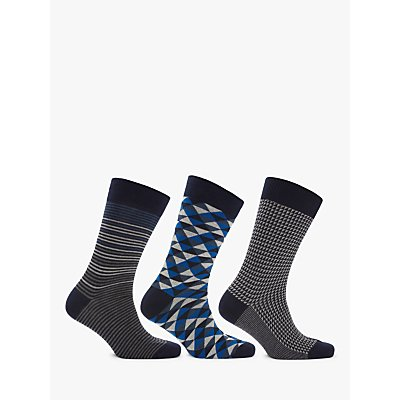 John Lewis   Partners Made in Italy Egyptian Cotton Geo Pattern Socks  Pack of 3 - 5057618066411