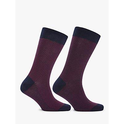 John Lewis   Partners Made in Italy Birdseye Herringbone Socks  Pack of 2  Navy Red - 5057618066992