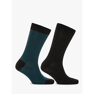 John Lewis   Partners Made in Italy Birdseye Fine Stripe Socks  Pack of 2  Black Tuquoise - 5057618083494