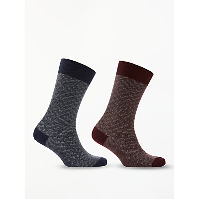 John Lewis   Partners Cashmere Mix Textured Socks  Pack of 2  Blue Red - 5057618083999