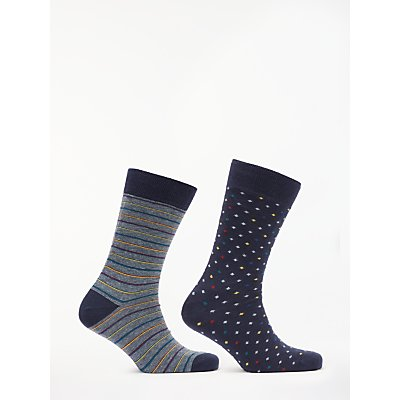 John Lewis   Partners Made in Italy Cotton Cashmere Diamond Stripe Socks  Pack of 2  Navy Multi - 5057618104793