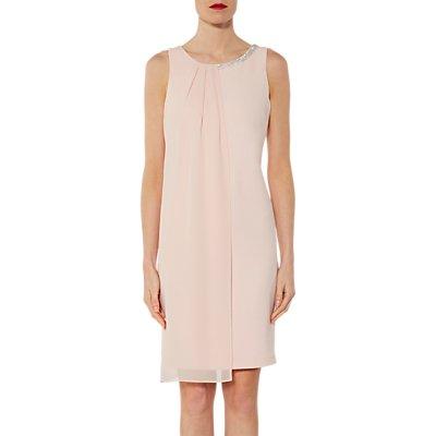 Gina Bacconi Zafira Beaded Neckline Chiffon Dress, Rose